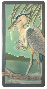 "A. Great Blue Heron 4"" x  8"" Tile - Medicine Bluff Studios"