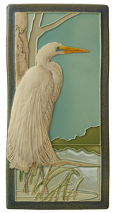 "B. Great White Egret 4"" x  8"" Tile - Medicine Bluff Studios"