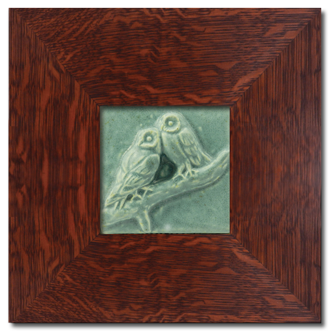 Two Owls 4 x 4 Tile with Dard Hunter Solid Oak Legacy Frame
