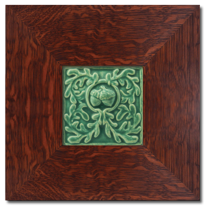 4x4 Acorn Floral Tile in Dard Hunter Oak Park Frame