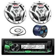 "JVC KD-R97MBS Marine Boat Yacht Radio Stereo CD Player Receiver Bundle Combo With 2x JVC CS-DR6201MW 100-Watt 6.5"" 2-Way Coaxial Speakers + Enrock Radio Antenna + 50 Foot 16g Speaker Wire …"