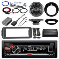 "98-2013 Harley Install AUX CD Adapter Kit, Kicker Amplifier, 6.5"" Speaker Set"