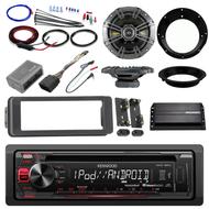 """Kenwood CD AUX Harley FLHT Install Dash Kit, Kicker Amplifier, 6.5"""" Speaker Set"""