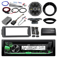 "Bluetooth JVC CD Harley 98-2013 Install Kit, Kicker Amp, Kicker 6.5"" Speakers"