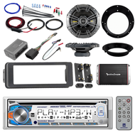 "Bluetooth Harley Dual FLHTC CD Install Adapter Kit,Amplifier Set,6.5"" Kicker Set"