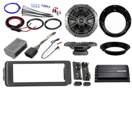 "Bluetooth USB Harley 98-2013 Adapter Install Kit, Kicker Amp, Kicker 6.5"" Set"