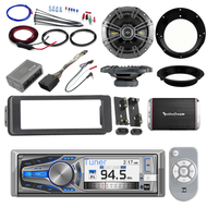 "Harley CD Bluetooth Adapter Install Kit, Amplifier Set, Kicker 6.5"" Speaker Set"