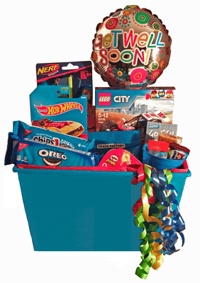 Boys Lego Racer Blue Gift Basket with Get Well Soon Balloon
