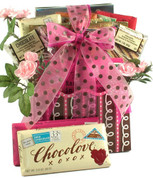 Gift box filled with a variety of Chocolate candy bar messages, popcorn and more chocolate snacks.