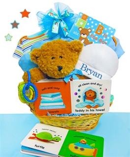 Welcome New Baby Gift Basket Boy