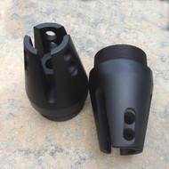 Angled muzzle brake front shroud cap