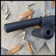 "All Black Muzzle Brake Fake Silencer / Suppressor Style 4 1/2"" Long"