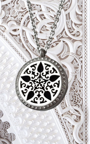 Diffusing Necklace - Silver Star Burst with Crystals