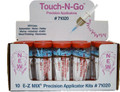 The E-Z MIX Touch-N-Go System is the latest in touch-up systems. The kit includes 10 syringes that draw in paint, clear, glue and more. Add a blue tip and you have a mobile touch-up system. Touch-N-Go can also be used to remove runs and repair fish-eyes. Replacement Blue Tips also available