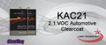 "2.1 VOC Automotive Clearcoat  KAC21 is a premium automotive 2.1 VOC clear which is required in certain areas requiring low VOC properties. Its distinct ""water white"" property eliminates concerns of color change, especially over white. KAC21 has outstanding buffing capabilities and a superior gloss for a glamour appearance.  ACTIVATORS  GH065 Fast Low VOC Activator GH075 Medium Low VOC Activator GH085 Slow Low VOC Activator MIXING RATIO  Mix 4 parts KAC21 clear with 1 part selected activator."
