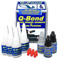 Q-Bond is an adhesive and can be used for simple repairs or as a 2-part repair that utilizes a unique reinforcing powder that have filling capabilities to handle cracks, holes and gaps.  The Q-Bond formula is fast-setting; repairs are rock solid in 10 seconds!  Q-Bond repairs are robust and can be grinded, filed, tapped, sanded and painted! Q-Bond repairs are resistant to shop fluids like oil, gas and battery acid. Q-Bond repairs are heat resistant up to 356°F / 180°C BLACK carbon powder is used for Hard Plastic, Motorcycle Fairings, Grills, Lugs, Clips and Tabs, Radiators, Distributor Caps, Bumpers and much more!  GREY aluminum powder can be used for Metal Surfaces, Motorcycle Engines, Aluminum, Office Equipment, Carburetors, and Wheel Caps.   When you purchase the Q-Bond Adhesive Kit (QB3), you will receive:  Two (6) Bottles Q-Bond Adhesive (3.5oz/10ml) One (2) Bottle Black Reinforcing Powder One (1) Bottle Grey Reinforcing Powder