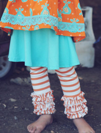 Persnickety Ruffled Leggings - Orange Stripe