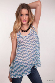 Umgee Lt Blue Chevron Print Tank  Final Sale