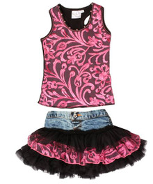 Ooh La La Couture Black Candy Pink Denim Set