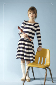 Anthem of the Ants Scarf Neck Dress - Navy Stripe