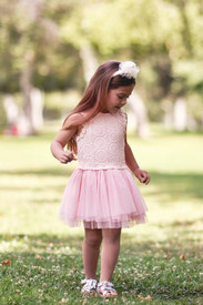 Mae Li Rose Pink Crochet Top Bow Dress