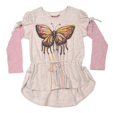Paper Wings Butterfly Art Puff SleeveTee