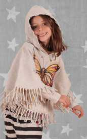 Paper Wings Butterfly Art Fringed Poncho