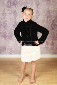 Tru Luv Fringed Fur Skirt (size 8)
