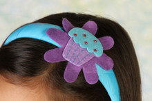 Headband - Blue band with Purple Cupcake