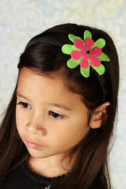 Headband - Black band with Green and Red Flower