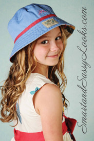 Little Joule Reversible Blue Sunhat