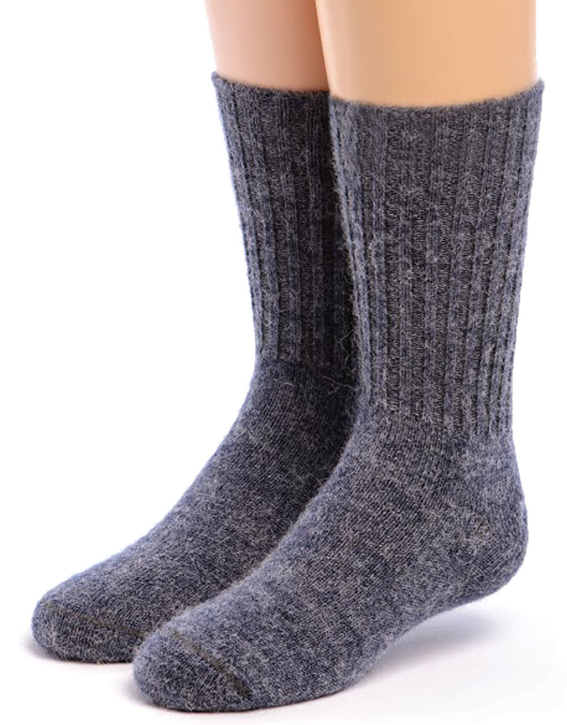 Kid's Alpaca Socks Front Denim