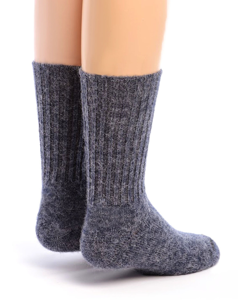 Kid's Alpaca Socks Back Denim