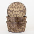 Chocolate Brown and Gold Damask Cupcake Liners
