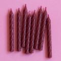 Burgundy Large Spiral Candles