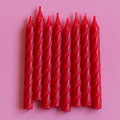 Cherry Red Large Spiral Candles