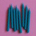 Teal Large Spiral Candles