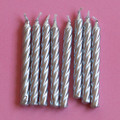 Silver Large Spiral Candles