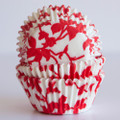 Cherry Red Ivy Cupcake Liners