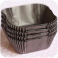 Dark Chocolate Brown Glassine Square Baking Cups