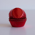 Mini Cherry Red Foil Cupcake Liners