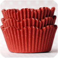 Cherry Red Scalloped Cupcake Liners