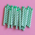 Green and White Spiral Candles