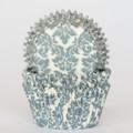 Denim Blue Damask Cupcake Liners