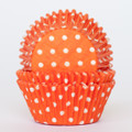 Tangerine Orange Polka Dot Cupcake Liners