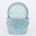 Blue and Silver Damask Cupcake Liners