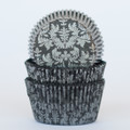 Black and Silver Damask Cupcake Liners
