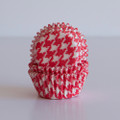Mini Strawberry Red Houndstooth Cupcake Liners