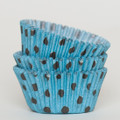 Turquoise and Brown Polka Dot Cupcake Liners