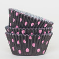 Black and Hot Pink Polka Dot Cupcake Liners